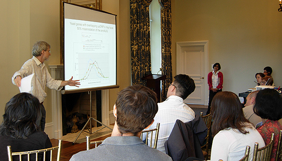 "Michael Weir, director of the Hughes Program in the Life Sciences, professor of biology, discusses ""A Puzzle in Translation Initiation"" during the ninth annual Molecular Biophysics Retreat, held at Wadsworth Mansion in Middletown on Sept. 18."