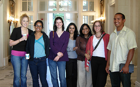 Molecular biology and biochemistry Ph.D candidates Rebecca Ryznar, Asmitha Lazarus, Lorry Grady, Tina Motwani, Sanchaita Das, Sarah Auclair and biology Ph.D candidate Will Gladstone pose for a photo at the event. The retreat was attended by faculty and students in the Molecular Biology and Biochemistry Department, the Chemistry Department, the Physics Department, the Biology Department and the Integrative Genomic Sciences Program.