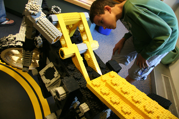 Tom Hennessey, 9, checks out the LEGO detail in a motorcycle, on display in the CRC.
