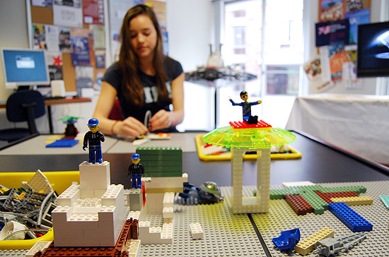 The LEGO company set up a play table, video display, two LEGO statues to encourage students to apply for LEGO internships or post-college positions. Locally, LEGO is based in Enfield, Conn. LEGO representatives will be on-campus Sept. 25 for an information session about their available positions and careers.