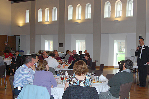 Thirty-three members of the Wesleyan community were honored by President Michael Roth during a Service Recognition Lunch Oct. 22 in Beckham Hall. Honorees worked at Wesleyan 20 years or more.