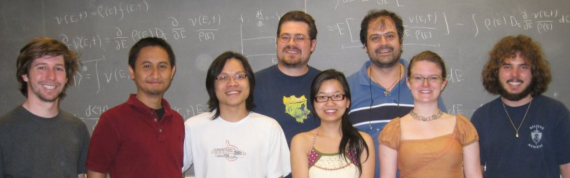 Wesleyan's Complex Quantum Dynamics and Mesoscopic Phenomena Group is hosting the annual New England Mesoscopic Systems Symposium Oct. 26. Group members include front, from left, James Aisenberg, Rangga Budoyo, Gim Seng Ng, Mei Zheng, Katrina Smith-Mannschott and Carl West, and back, from left, Joshua Bodyfelt and Tsampikos Kottos.