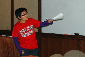 "Graduate student Weiwei Pan spoke on ""Categorified Bundles and Classifying Spaces"" at the 2008 Eastern Sectional Meeting of the American Mathematical Society held Oct. 11-12 at Wesleyan. (Photos by Olivia Bartlett)"