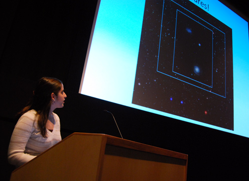 "Hannah Sugarman '09 speaks on ""Finding Intermediate Mass Black Holes in the Local Universe"" during the 18th Annual Undergraduate Research Symposium of the Keck Northeast Astronomy Consortium Nov. 8."