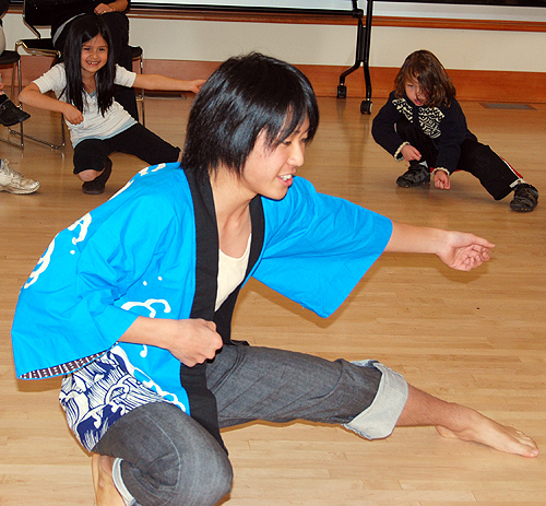 Taiki Sawabe '12 teaches Soranbushi dancing to children during the Mansfield Freeman Center for East Asian Studies Outreach Program Nov. 11.  The program introduces students in the local community about East Asian cultures through hands-on cultural activities.