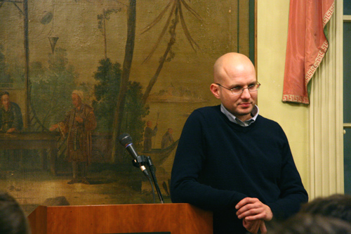 "Ulrich Plass, assistant professor of German, presented a talk titled ""Franz Kafka and the State of Exception"" Nov. 17 in Russell House. In this lecture, Plass examined the topological structure of Kafka's parables against the backdrop of philosophical interpretations that seek to illuminate the hidden political significance of his stories. Many of Kafka's stories address problems of law, justice and violence."