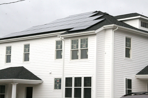 Solar panels were installed on the rooftop of a new senior house on Fountain Avenue Oct. 29. The entire house is Enviornmental Protection Agency ENERGY STAR certified.