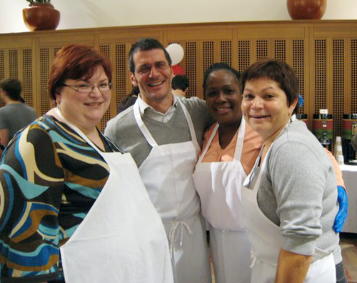 Wesleyan faculty and staff volunteered to serve the students. Pictured, from left, are Janine Lockhart, financial planner and analyst; Noel Garrett, dean for the Class of 2011;  Jillian BairdBurnett, associate dean of admission; and Marina Melendez, dean for the Class of 2010.