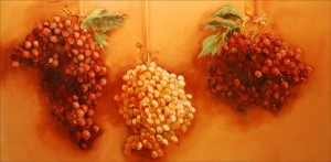 "John Frazer painted ""Grapes"" in 1996. Hanging vegetables is an ongoing theme in the artist's work."