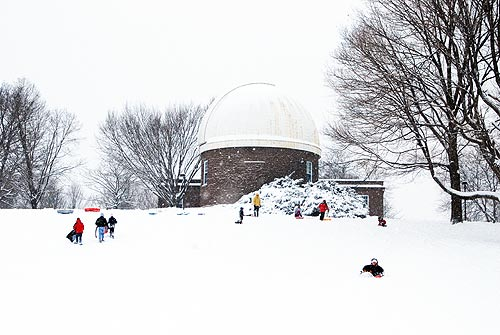 Many Wesleyan and community members brought their sleds to Foss Hill near the Astronomy Department Dec. 21.