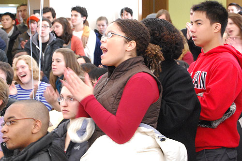 Marjorie Rivera '12 shouts and applauds Obama's speech. (Photo by Olivia Bartlett)