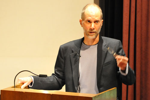 Alaskan composer John Luther Adams presented a talk on his complex musical work, <i>The Place Where You Go to Listen</i>, Jan. 28 in the Center for the Arts Cinema. For the past 30 years, the vastness of Alaska has been instrumental in the composer's imagination and his compositions. Adams sampled his musical compositions during the talk.