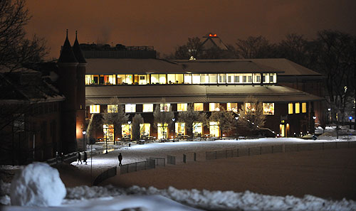 A white-roofed Usdan glows from the view on Foss Hill.