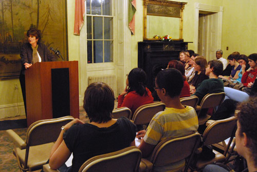 Amy Bloom '75, the Jacob Julien Visiting Writer, spoke Feb. 18 in the Russell House as part of the Distinguished Writers Series for Spring 2009.