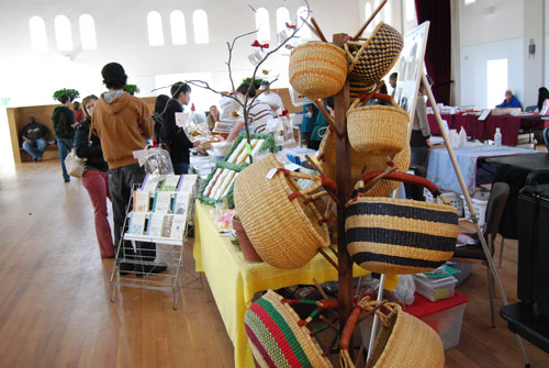 Homemade products are sold at the market.