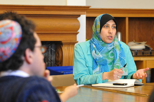 Marwa Aly, University Muslim Chaplain, shares a story during the talk on Gaza. The event was sponsored by the Office of Religious and Spiritual Life and Interfaith Justice League. (Photos by Olivia Bartlett)