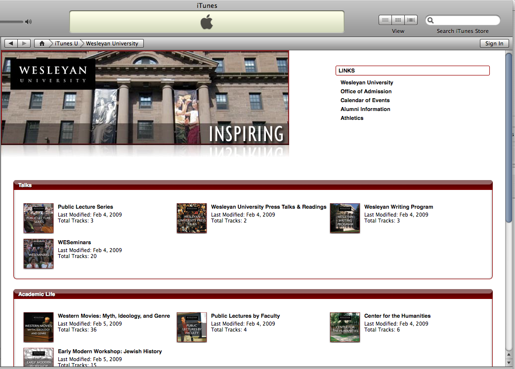 Wesleyan's content on iTunes U comprises more than 100 tracks available for download.