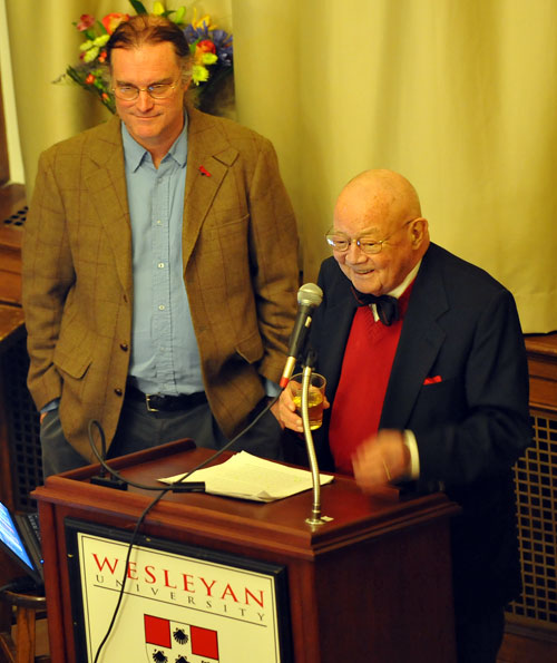 "At left, John Manchester '72, son of William Manchester, and Joseph Lynch, class of '47, spoke briefly about William Manchester and welcomed questions from the audience. Lynch, a longtime friend of Manchester, says ""Bill Manchester cared deeply about his writing … He was a retrospective reporter. He watched events happen and then wrote about them."""