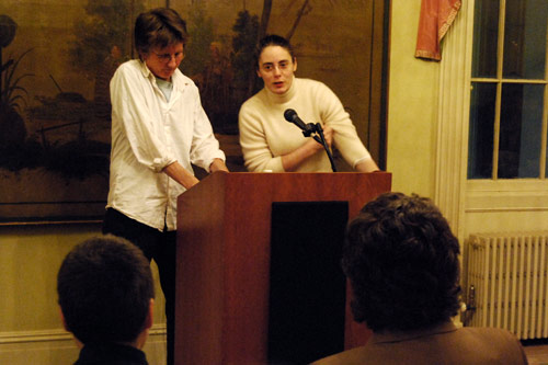 Author, teacher and activist Rebecca Brown spoke Feb. 11 as part of the Writing Series. Brown's best-known novel, <em>The Gifts of the Body</em>, won the Lambda Literary Award. Among her other books are <em>The End of Youth</em>and <em>The Terrible Girls</em>. She is the recipient of the Boston Book Review Award for fiction and a Washington State Governor's Award. Brown was presented by Lisa Cohen, assistant professor of English, pictured at right.