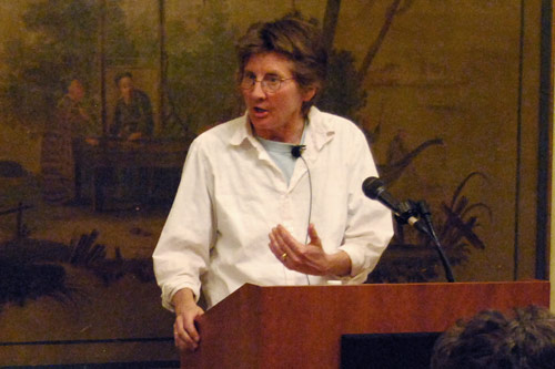 Brown's talk, and other speakers sponsored by the Distinguished Writers Series, are supported by the Wesleyan Writing Program, the Center for the Arts, the Edward W. Snowdon Fund, Wesleyan University Press, the Center for the Humanities, the English Department, and the funds for the Joan Jakobson Visiting Writer, the Annie Sonnenblick Lecture, and the English Department's Millett Writing Fellow. (Photos by Alexandra Portis '09)