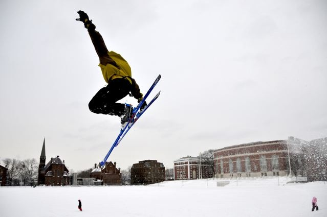 Telemark skiier George Bennum '09 hits a jump on Foss Hill March 2 following a winter storm. (Photo by Jacon Mayer '10)