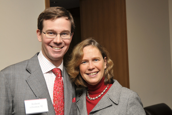 Robert Allbritton '92 shares a hug with Barbara-Jan Wilson, vice president for University Relations.