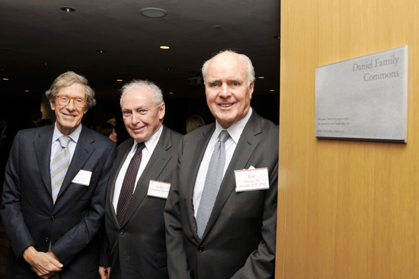 John Jakobson '52, P'05, Hon '89; Campbell and Ron Daniel mingle at the celebration.