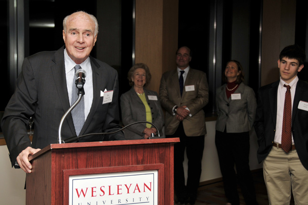 Ron Daniel '52, Hon '88, P'77, P'82 speaks during the Daniel Family Commons dedication Feb. 27 in the Usdan University Center.