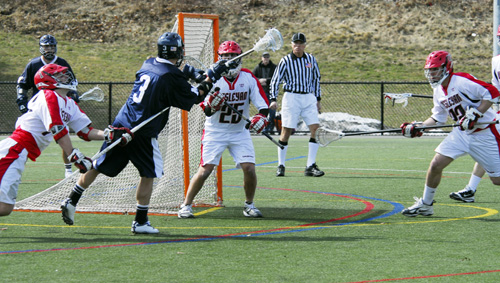 Goalie Mike Borrero '09 turned aside 16 Panther scoring bids. (Photos by Tony Pratt P'10 and Vaughn Winchell)