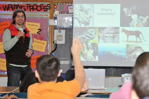 "Michael Singer, assistant professor of biology, taught a workshop on ""Biodiversity in Connecticut and Beyond"" during the Middletown Minds in Motion program March 21 at Snow Elementary School."