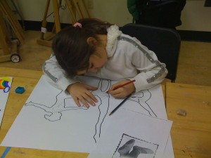 Green Street Arts Center students are working on designs for the community mural. (Photo courtesy of Marela Zacarias)