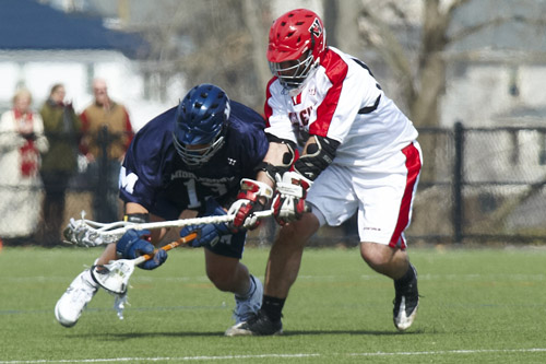 Matt Ward '09 won 12 of 19 faceoffs.