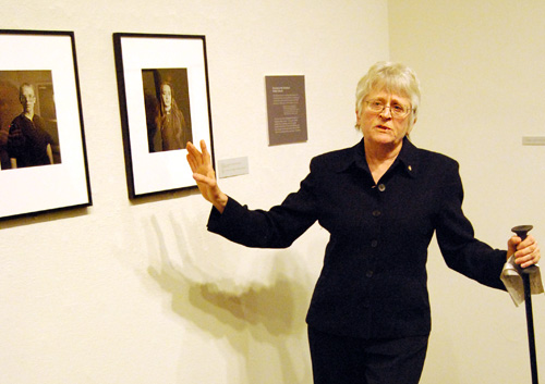 Photographer Judith Joy Ross speaks about her portraits during the show's opening reception March 26 in the Davison Art Center.