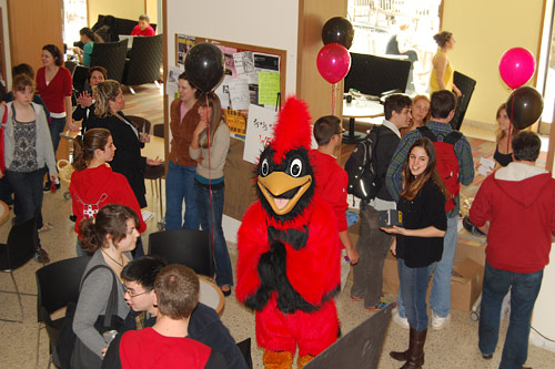The Wesleyan Cardinal attended the Tuition Transition celebration in Usdan.