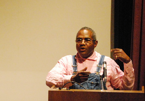 Amos Paul Kennedy, Jr. spoke about his career as a press printer and book artist April 21 in the Center for the Arts Cinema.