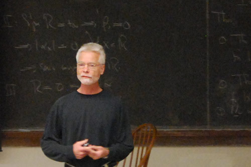 Brian Stewart, associate professor of physics, led the second annual Earth Week Rant April 23 in Exley Science Center. The event was open to the entire Wesleyan community. 