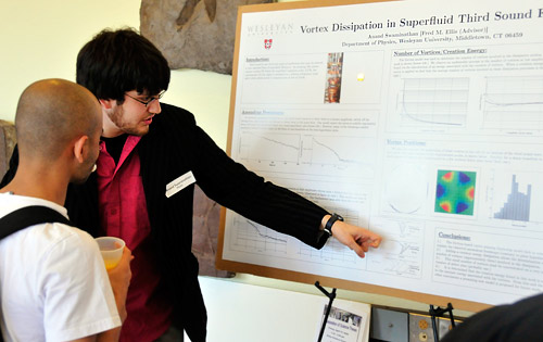"Physics major Anand Swaminathan '09 explains his research on ""Vortex Dissipation in Superfluid Third Sound Flows."""