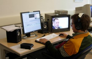 Chris Skorik '09 edits his film on male nurses.
