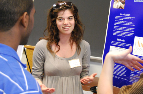 Arielle Tolman '10, pictured, and Juliana Neuspiel 09 researched &quot;Differential Predictors of Everyday Skills and Satisfaction with Life in Patients with Schizophrenia. The students worked with 49 stabilized outpatients with schizophrenia.