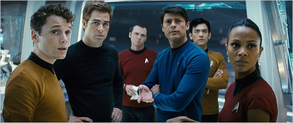 From left, Anton Yelchin as Chekov, Chris Pine as Kirk, Simon Pegg as Scotty, Karl Urban as McCoy, John Cho as Sulu and Zoë Saldana as Uhura. (Photo courtesy of Paramount Pictures.)
