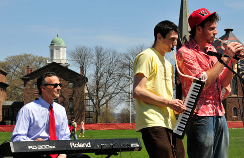 Student bands provided entertainment during the barbeque. Wesleyan President Michael Roth played keyboard with one of the bands.