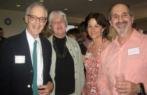 Lew Lukens, professor of molecular biology and biochemistry, emeritus;  Ellen Lukens; Jan Naegele, chair and professor of biology, professor of neuroscience and behavior; and Fred Cohan, professor of biology, attended the reception to congratulate Wolfe on his retirement. (Photos by Blanche Meslin)