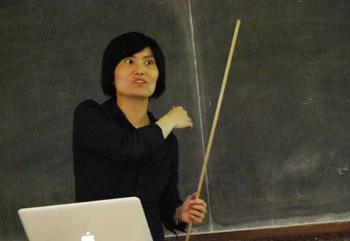 Jane Wang, associate professor of theoretical and applied mechanics at Cornell University, was the keynote speaker at the annual Memorial Bertman Lecture April 30 in Exley Science Center. The event was sponsored and organized by the Department of Physics.