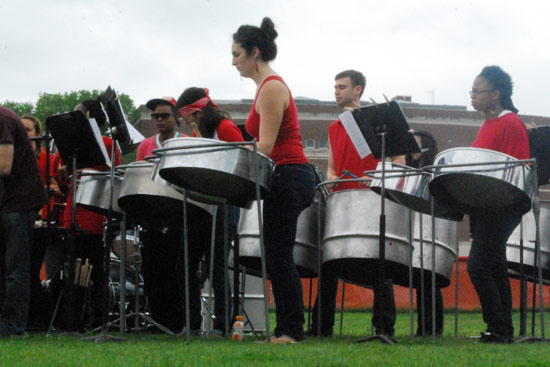 The Wesleyan Steel Band performed a concert May 9 behind Usdan University Center.