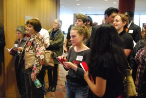 Students mingle at the reception.