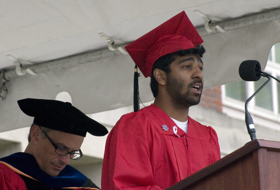Ravid Chowdhury 09, president of the Wesleyan Senior Class, led the Senior Class Welcome during the Weseleyan University Commencement Ceremony May 24.