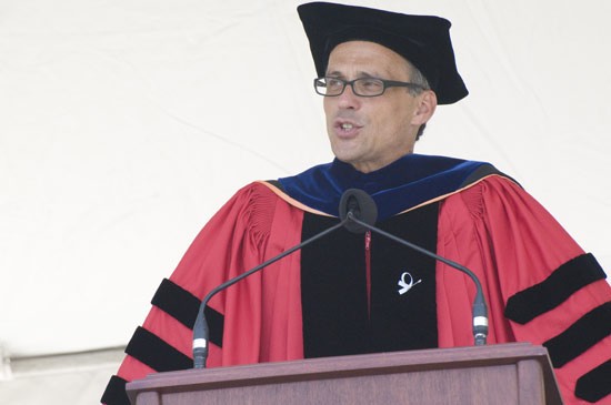 Wesleyan President Michael S. Roth '78 speaks during the Wesleyan University Commencement Ceremony May 24.