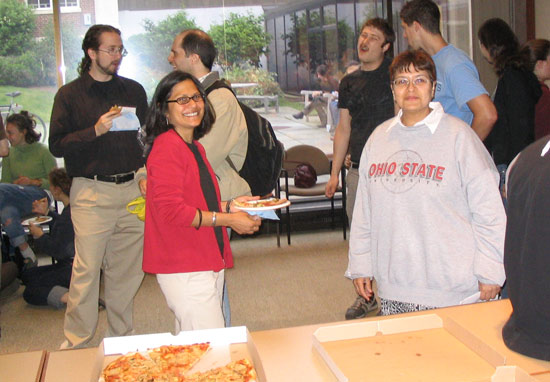 The gathering allowed the students to meet and mingle with several faculty members including, at left, Ishita Mukerji, professor of molecular biology and biochemistry, and Manju Hingorani, associate professor of molecular biology and biochemistry.
