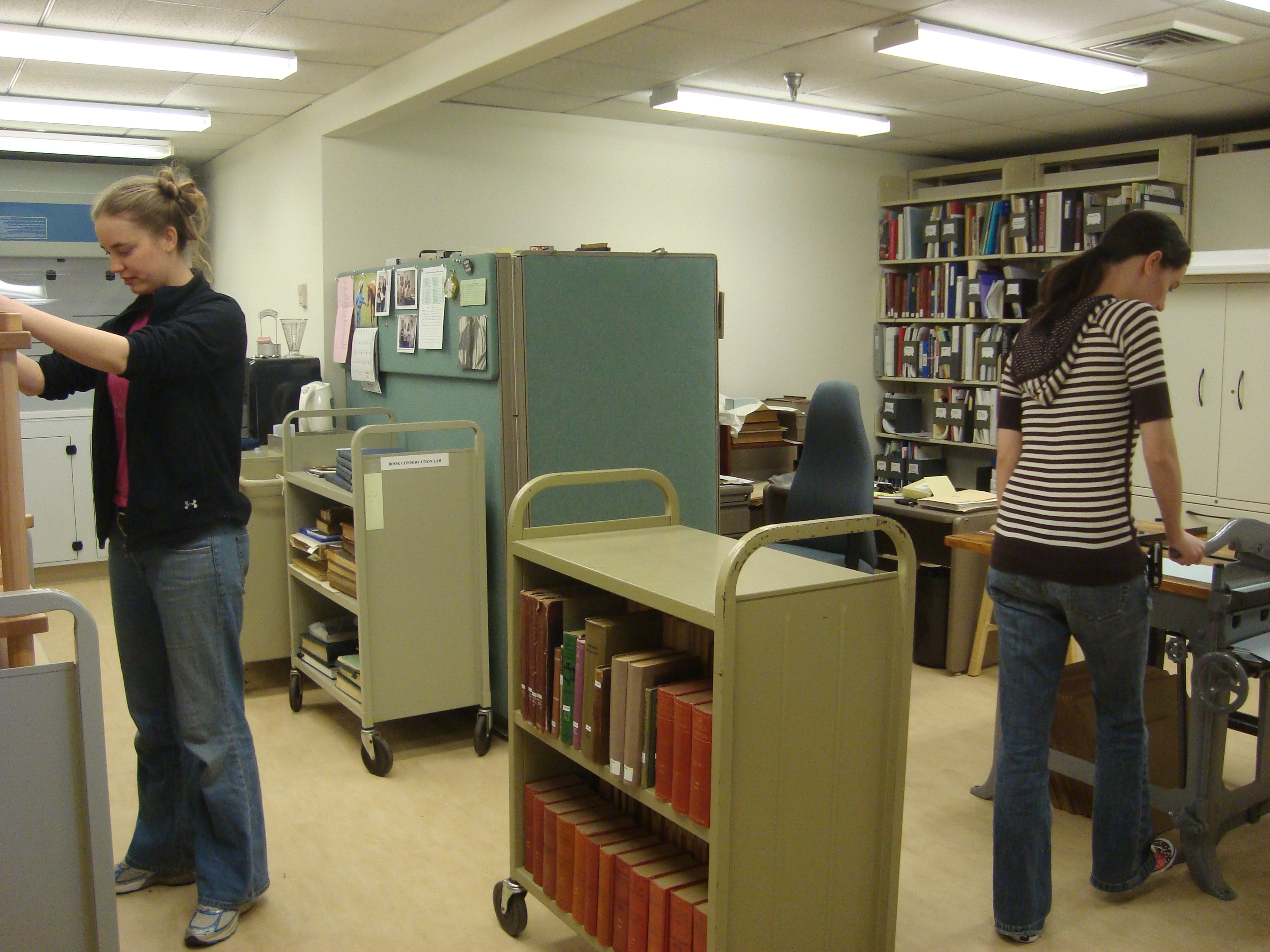 A former storage room in Olin Library is now part of the Preservation Services facility.