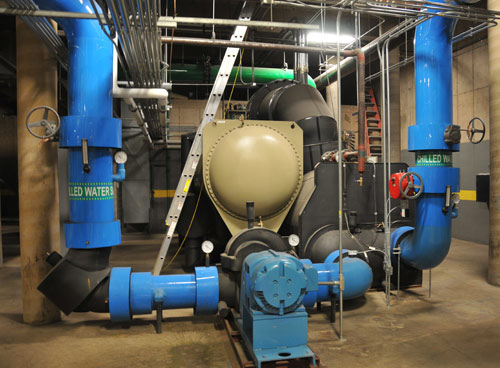 A new 1,500-ton centrifugal chiller in the Central Power Plant uses half the electricity as the one it replaced. The chiller replacement is one reason that Association of Energy Engineers awarded Wesleyan the 2009 Region I Energy Project of the Year Award.